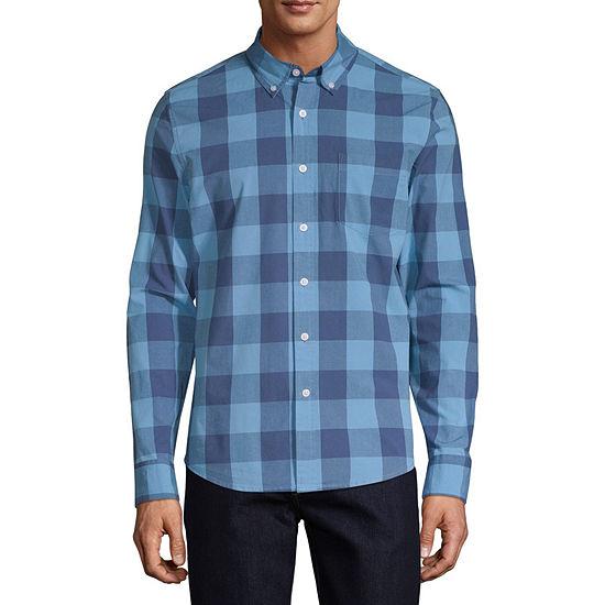 St. John's Bay Mens Long Sleeve Checked Button-Front Shirt