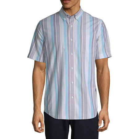 1960s – 70s Mens Shirts- Disco Shirts, Hippie Shirts St. Johns Bay Stretch Mens Short Sleeve Striped Button-Front Shirt X-large  Multiple Colors $13.49 AT vintagedancer.com