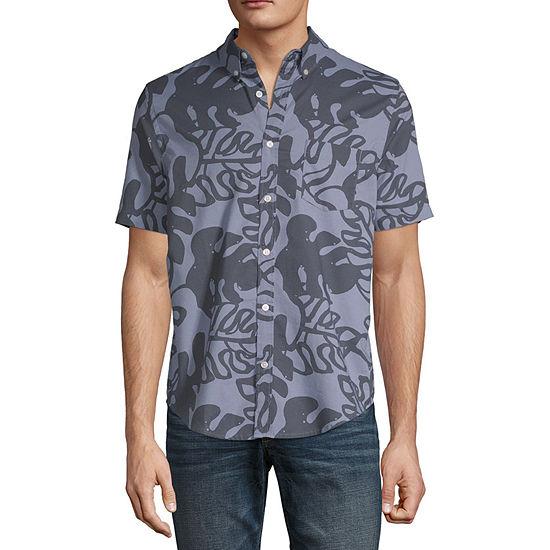 Arizona Advance Flex 360 Tropical Mens Short Sleeve Button-Front Shirt