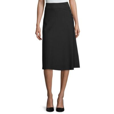 Worthington Womens High Waisted Midi A-Line Skirt