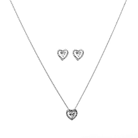 Sparkle Allure Holiday Light Up Box 3-pc. Cubic Zirconia Pure Silver Over Brass Heart Jewelry Set