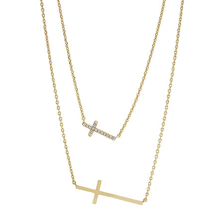 Sparkle Allure Faith You & Me 2-pc. Cubic Zirconia 14K Gold Over Brass 16 Inch Link Necklace Set, One Size
