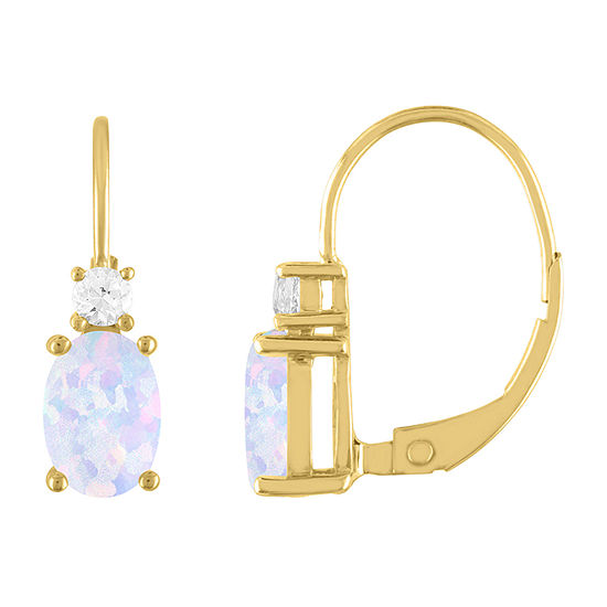 Lab Created White Opal 10K Gold Drop Earrings