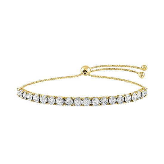 1 CT. T.W. Genuine Diamond 10K Gold Bolo Bracelet