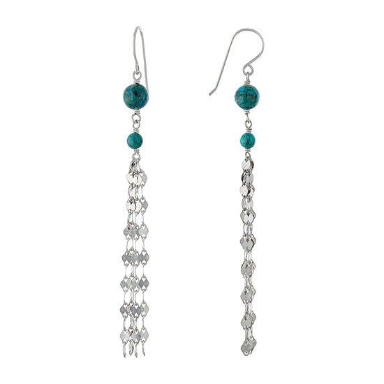 Enhanced Blue Turquoise Sterling Silver Round Drop Earrings
