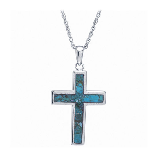 Womens Enhanced Blue Turquoise Sterling Silver Cross Pendant Necklace