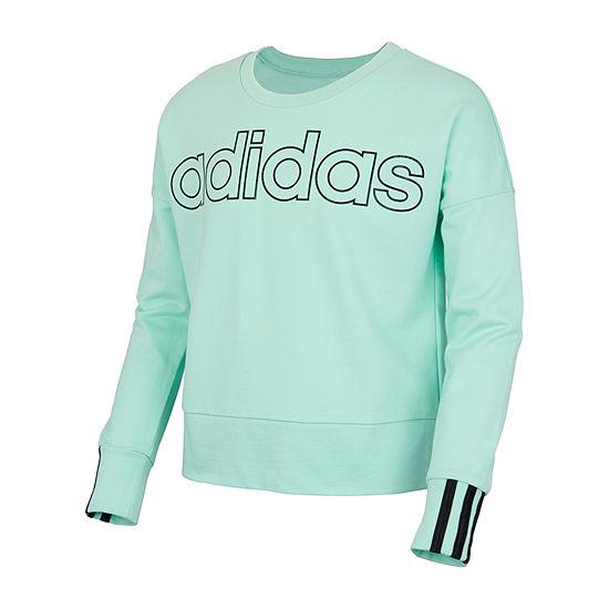 adidas Big Girls Crew Neck Long Sleeve Sweatshirt