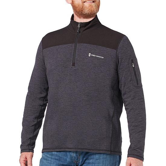 Free Country Sueded Melange Mens Mock Neck Long Sleeve Quarter-Zip Pullover