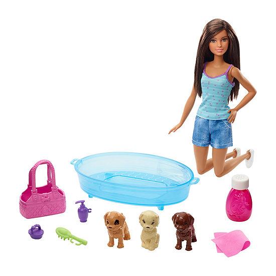 Barbie Doll Puppy Bath Playset