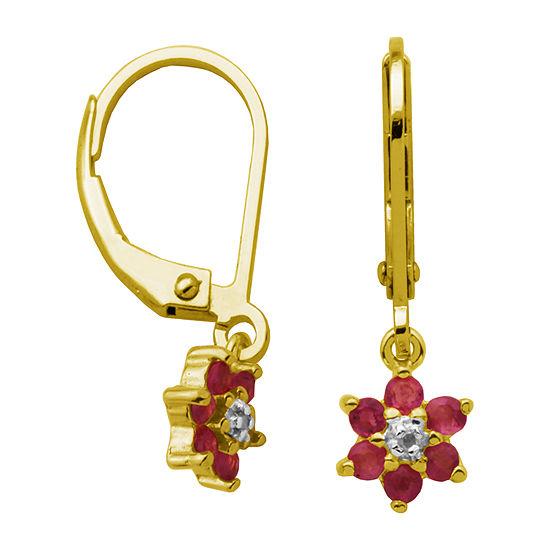 Silver Treasures Ruby 18K Gold Over Silver Flower Drop Earrings