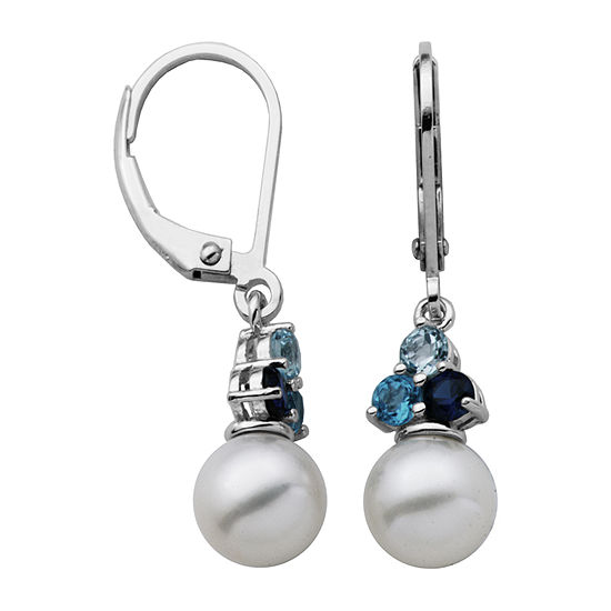 Silver Treasures Simulated Pearl Sterling Silver Round Drop Earrings