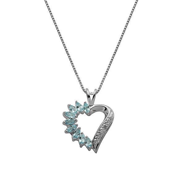 Silver Treasures Topaz Sterling Silver 18 Inch Box Heart Pendant Necklace