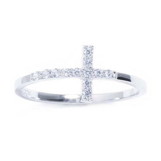 Silver Treasures Cubic Zirconia Sterling Silver Cross Ring