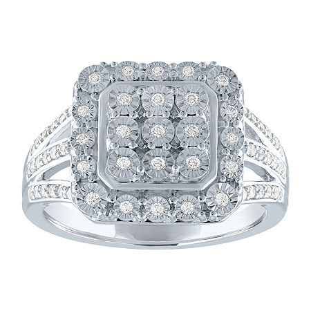 Womens 1/4 CT. T.W. Genuine Diamond Sterling Silver Cocktail Ring, 8