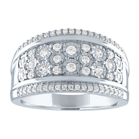 Womens 1/2 CT. T.W. Genuine Diamond Sterling Silver Cocktail Ring, 9