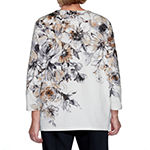 Alfred Dunner Essential Elements Womens Round Neck 3/4 Sleeve Knit Blouse