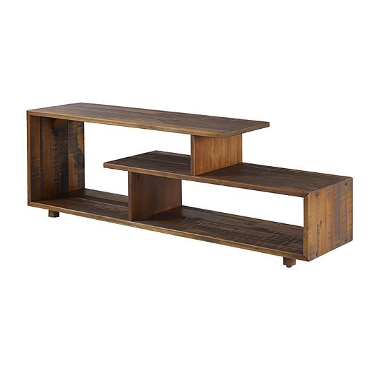60-Inch Asymmetric Modern Solid Wood TV Stand