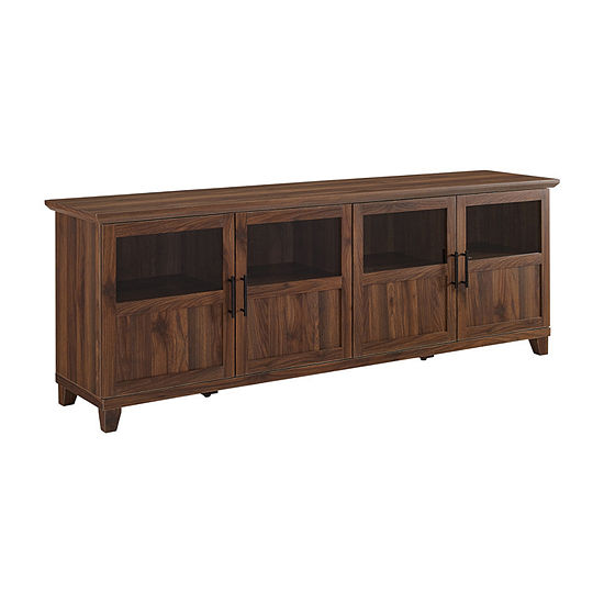 70-Inch TV Console with Glass and Wood 4 Panel Doors
