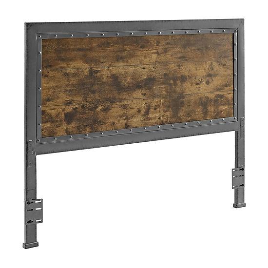 Queen Size Industrial Wood and Metal Panel Headboard