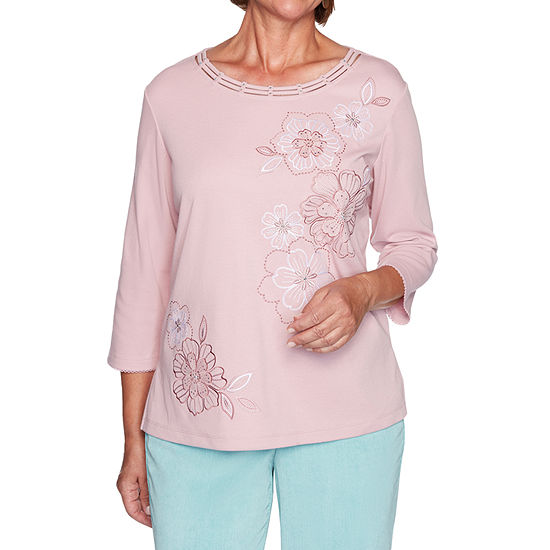 Alfred Dunner St Moritz Womens Round Neck 3/4 Sleeve Knit Embroidered Blouse