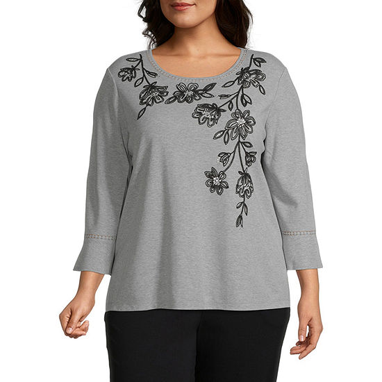 Alfred Dunner-Plus Knightsbridge Station Womens Round Neck 3/4 Sleeve Knit Embroidered Blouse
