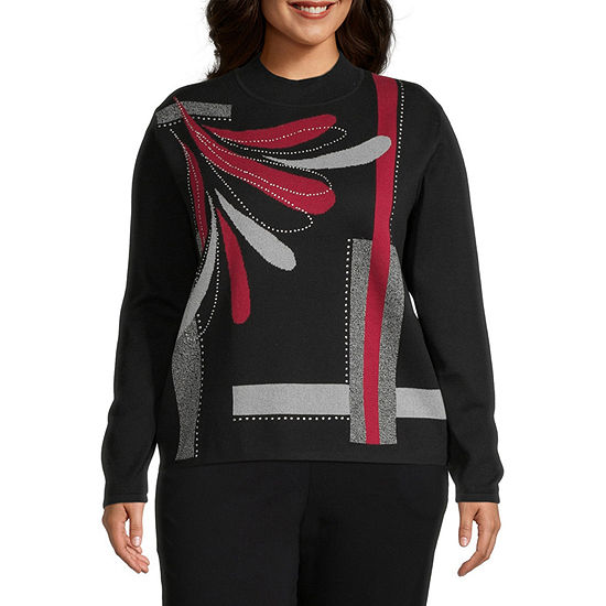 Alfred Dunner-Plus Knightsbridge Station Womens Mock Neck Long Sleeve Floral Pullover Sweater