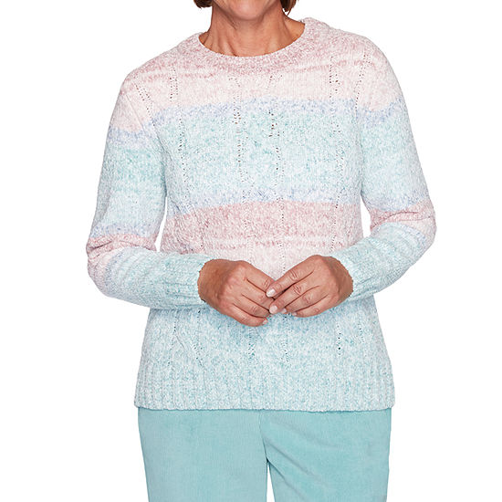 Alfred Dunner St Moritz Womens Crew Neck Long Sleeve Ombre Chenille Pullover  Sweater
