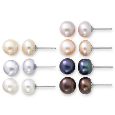 Cultured Freshwater Pearl 7-pr. Stud Earring Set