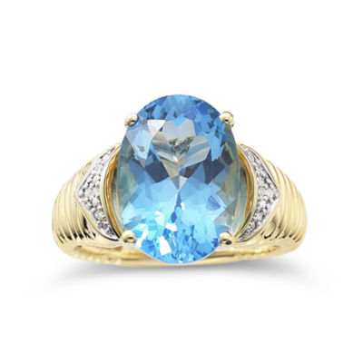 Womens 1/3 CT. T.W. Genuine Blue Blue Topaz Gold Over Silver Cocktail Ring