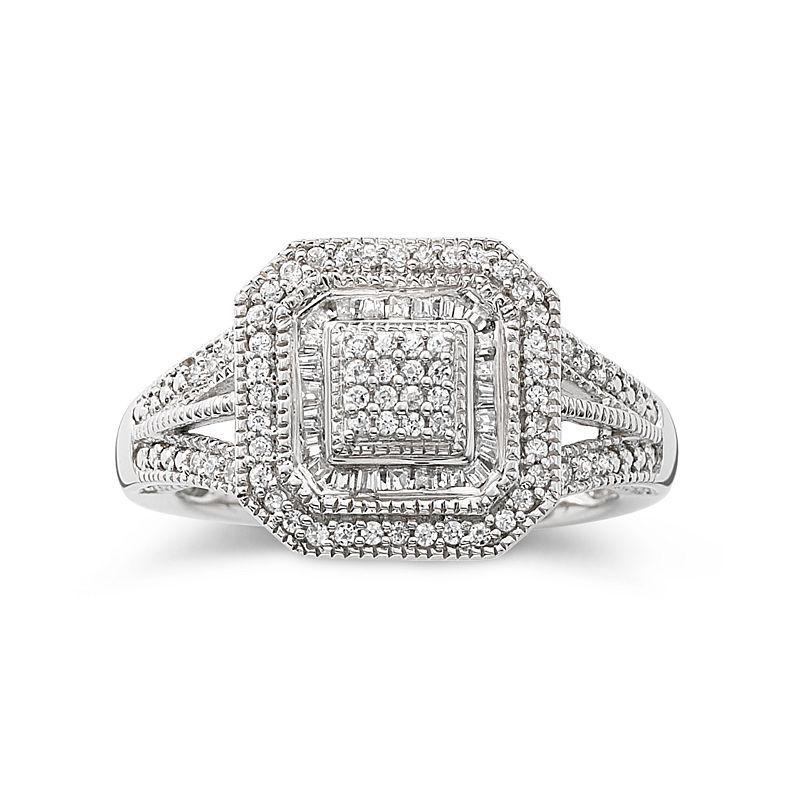 1/3 CT. T.W. Diamond Vintage Frame Ring plus size,  plus size fashion plus size appare