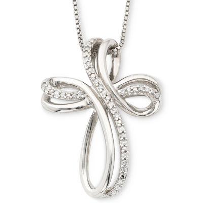 Sterling Silver 1/10 CT. T.W. Diamond Cross Pendant Necklace