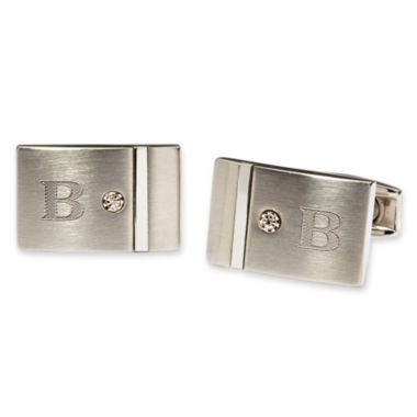 Personalized Stainless Steel and Diamond Cuff Links