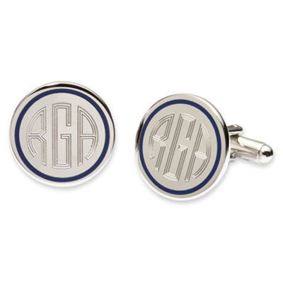 Blue Pinstripe Cuff Links