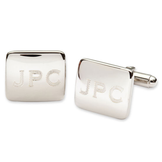 Personalized Polished Rounded Rectangle Cuff Links