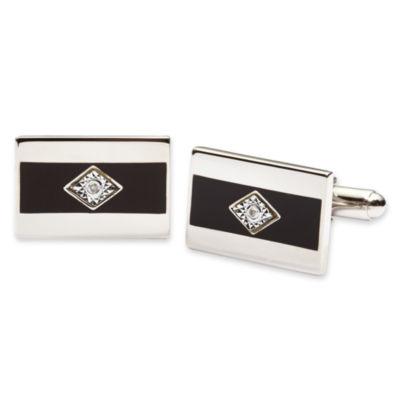 Black Enamel and Diamond Cuff Links