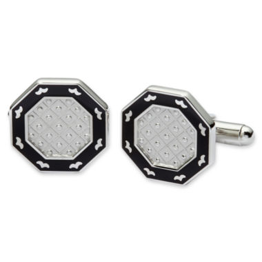 Black Enamel Octagonal Cuff Links