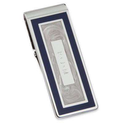 Personalized Blue and Pearl-White Hinged Money Clip