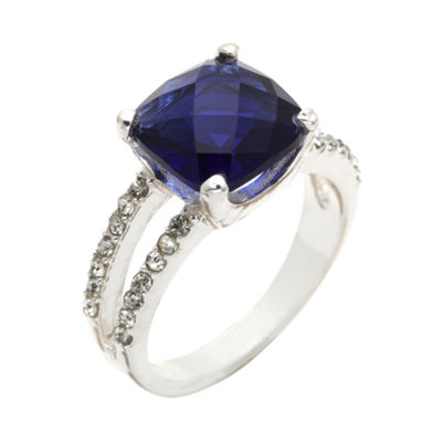 city x city® Silver-Plated Blue Glass & Clear Cubic Zirconia 3-Stone Ring