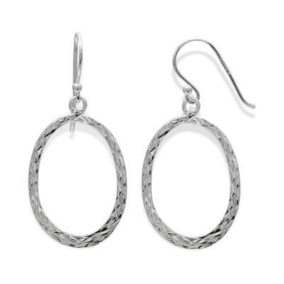 Sterling Silver Diamond-Cut Oval Drop Hoop Earrings