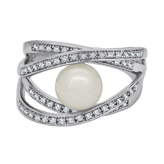 Cultured Freshwater Pearl Sterling Silver Crisscross Ring