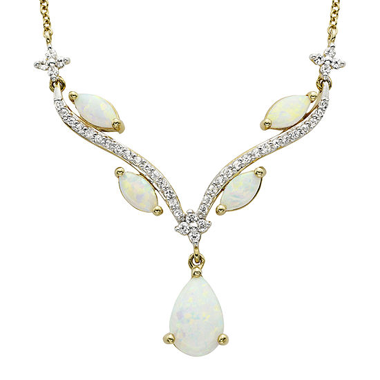 Lab-Created Opal & White Sapphire Necklace