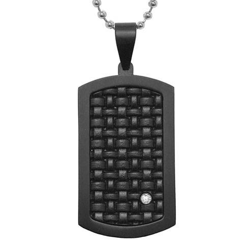 Mens Diamond-Accent Black IP Stainless Steel Dog Tag Pendant Necklace