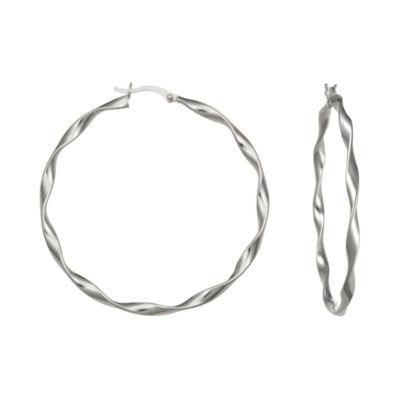 Sterling Silver Ribbon Twist Hoop Earrings