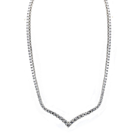 DiamonArt® Cubic Zirconia Sterling Silver Chevron Necklace