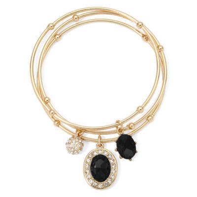 Monet® Black Crystal Charm 3-pc. Bangle Bracelet Set