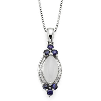 Genuine Moonstone and Lab-Created Blue and White Sapphire Sterling Silver Pendant Necklace