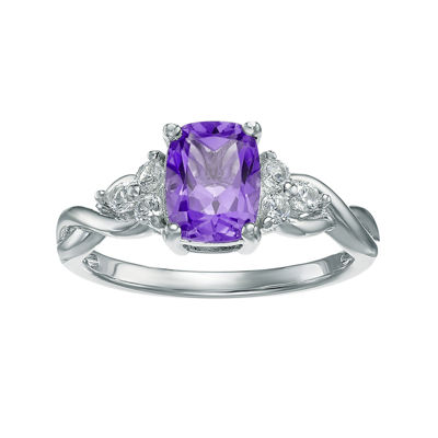 Genuine Amethyst and White Topaz 10K White Gold Cushion-Cut Twist Ring
