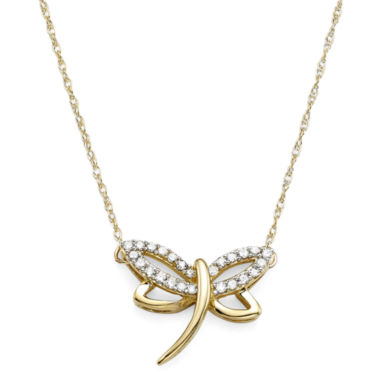 1/10 CT. T.W. Diamond 10K Yellow Gold Dragonfly Pendant Necklace