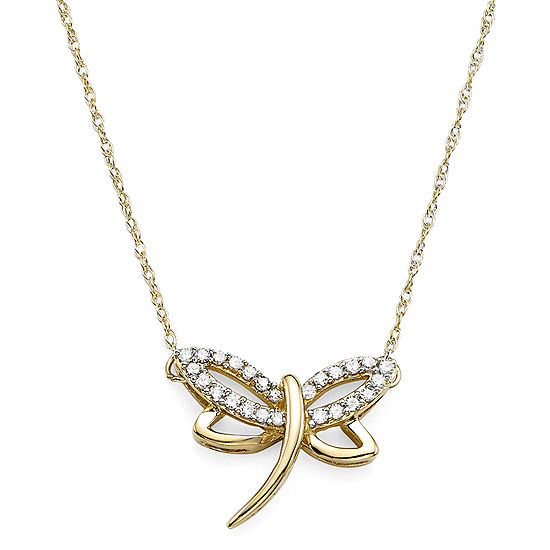 110 ct tw diamond 10k yellow gold dragonfly pendant necklace tw diamond 10k yellow gold dragonfly pendant necklace mozeypictures Images