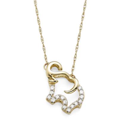 1/10 CT. T.W. Diamond 10K Yellow Gold Elephant Pendant Necklace
